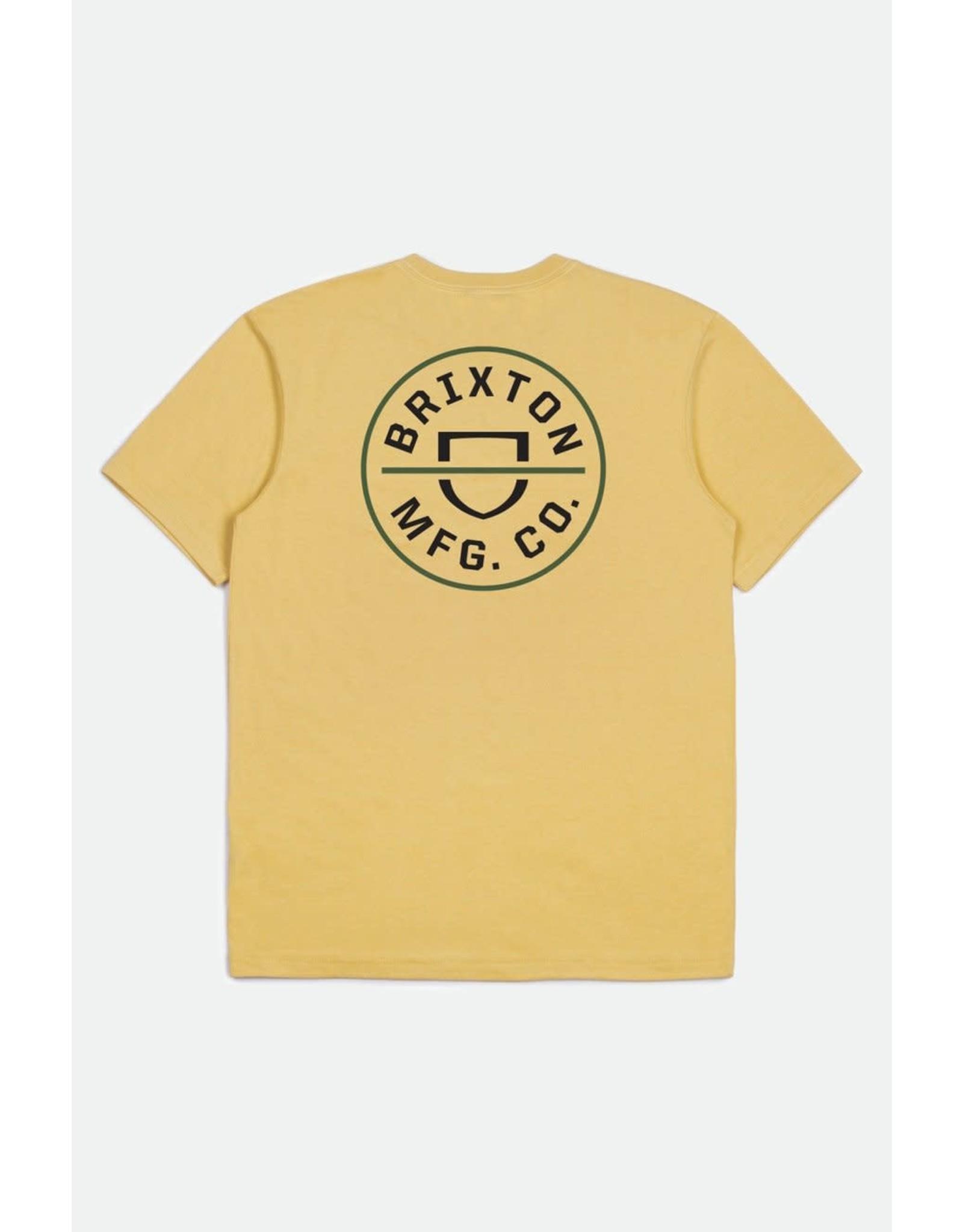 Brixton Brixton - T-shirt homme crest II stt antique gold/black