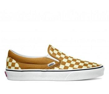Vans - Soulier junior classic slip-on checkboard golden brown/true white