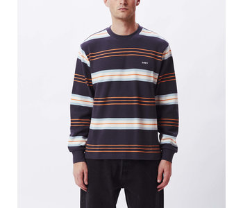 Obey - Chandail long homme berto thermal stripe indian ink multi