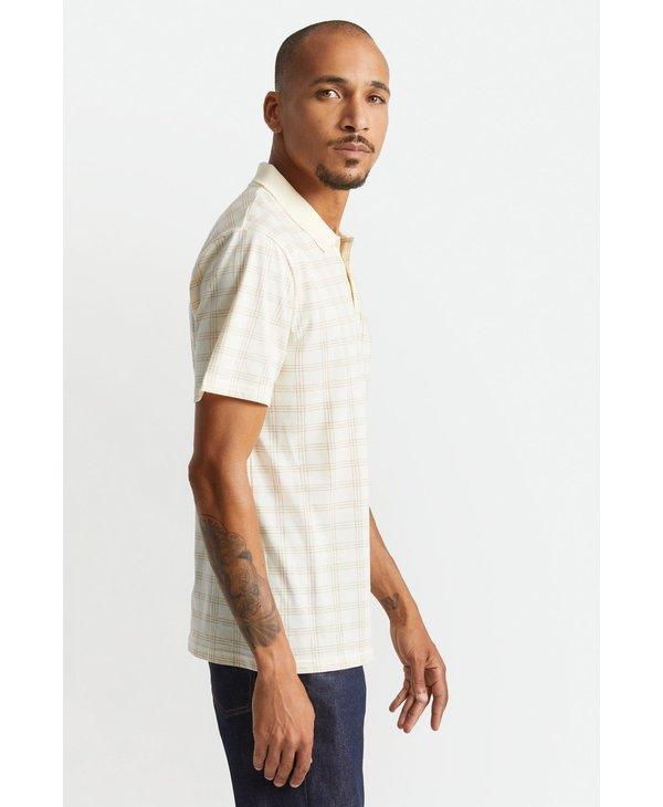Brixton - Polo homme plaid x knit off white/lion