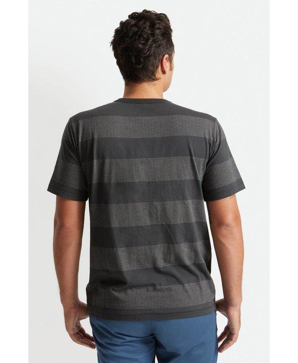 Brixton - T-shirt homme hilt stripe henley knit wasehd black/beige