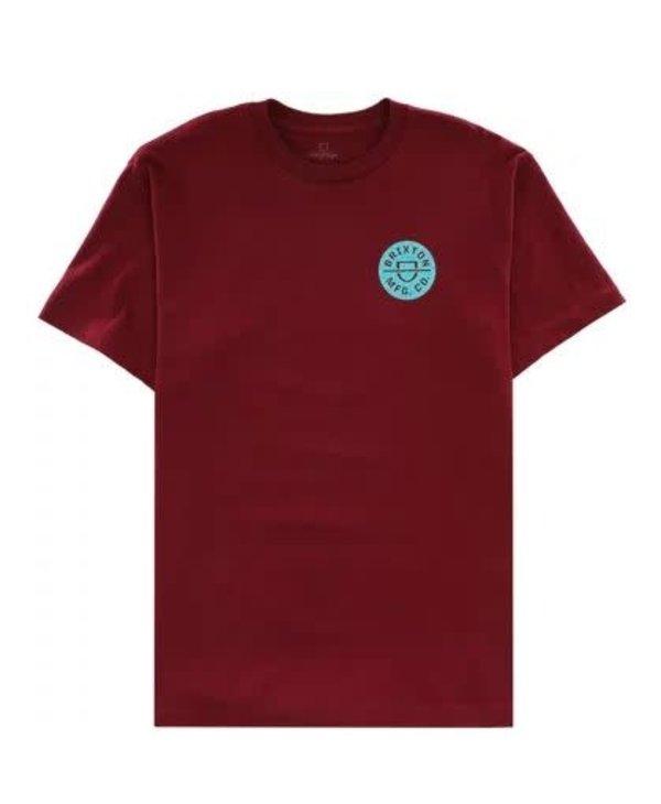 Brixton - T-shirt homme crest II stt burgundy/abstract blue