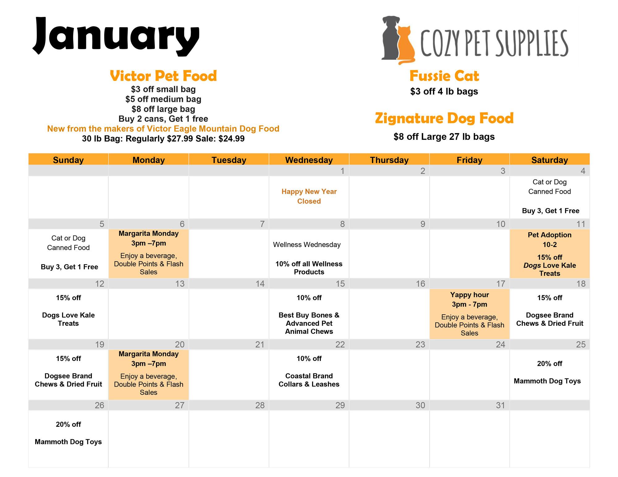 Cozy Pet Supplies Calendar - January 2020