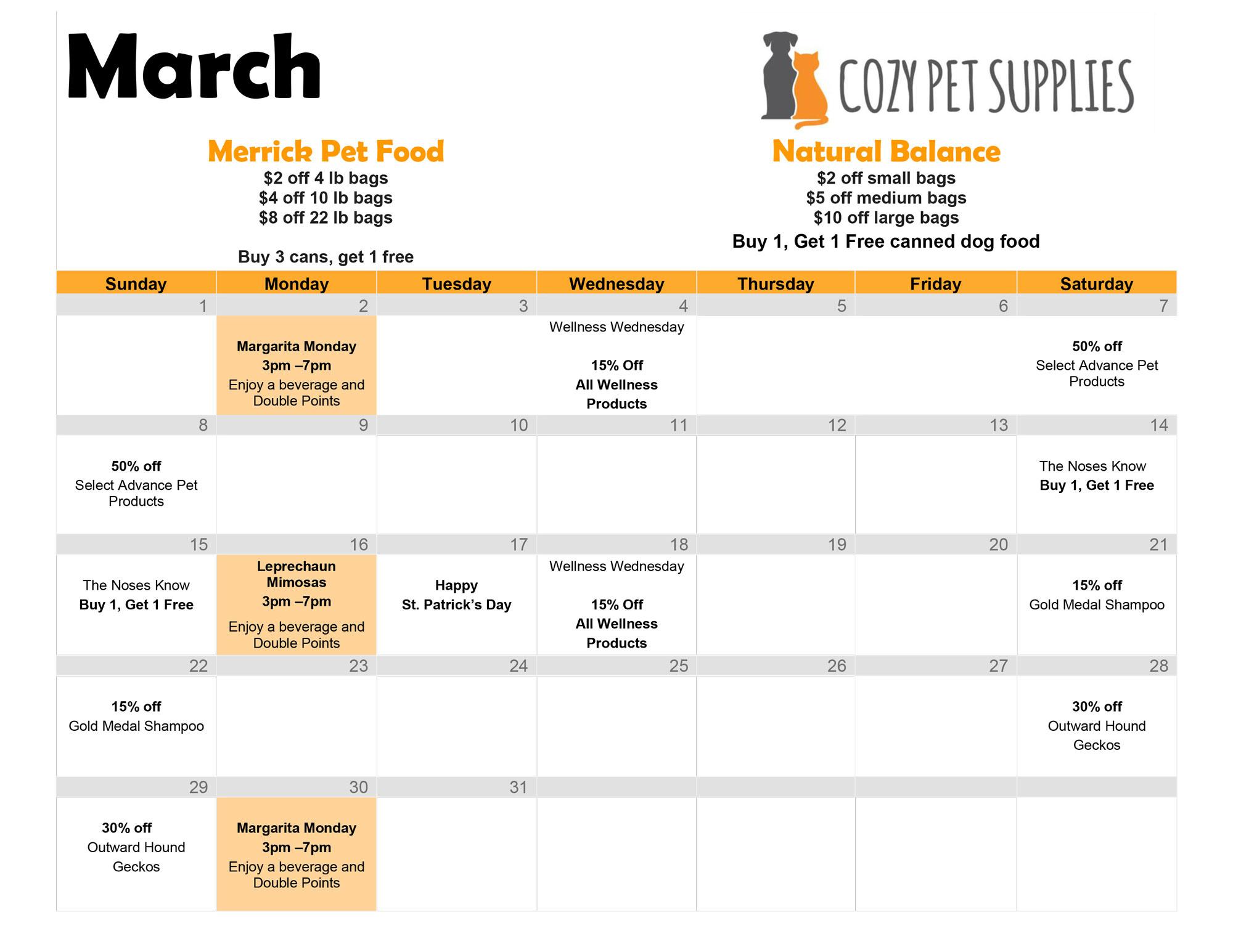 Cozy Pet Supplies March Calendar