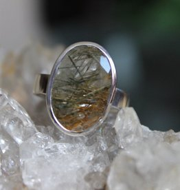 Epidote in Quartz Ring ~ Faceted Oval