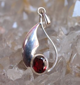 Garnet Pendant ~ Oval Faceted silver drop