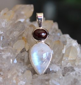 Rainbow Moonstone with Garnet Pendant