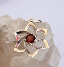 Garnet Flower Pendant