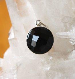 Black Onyx Pendant ~ Circle ~ Faceted