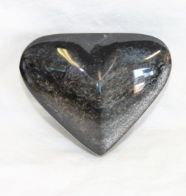 Silver Sheen Obsidian Heart ~ Mexico