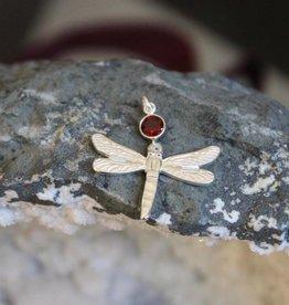 Amethyst or Garnet Dragonfly Pendant