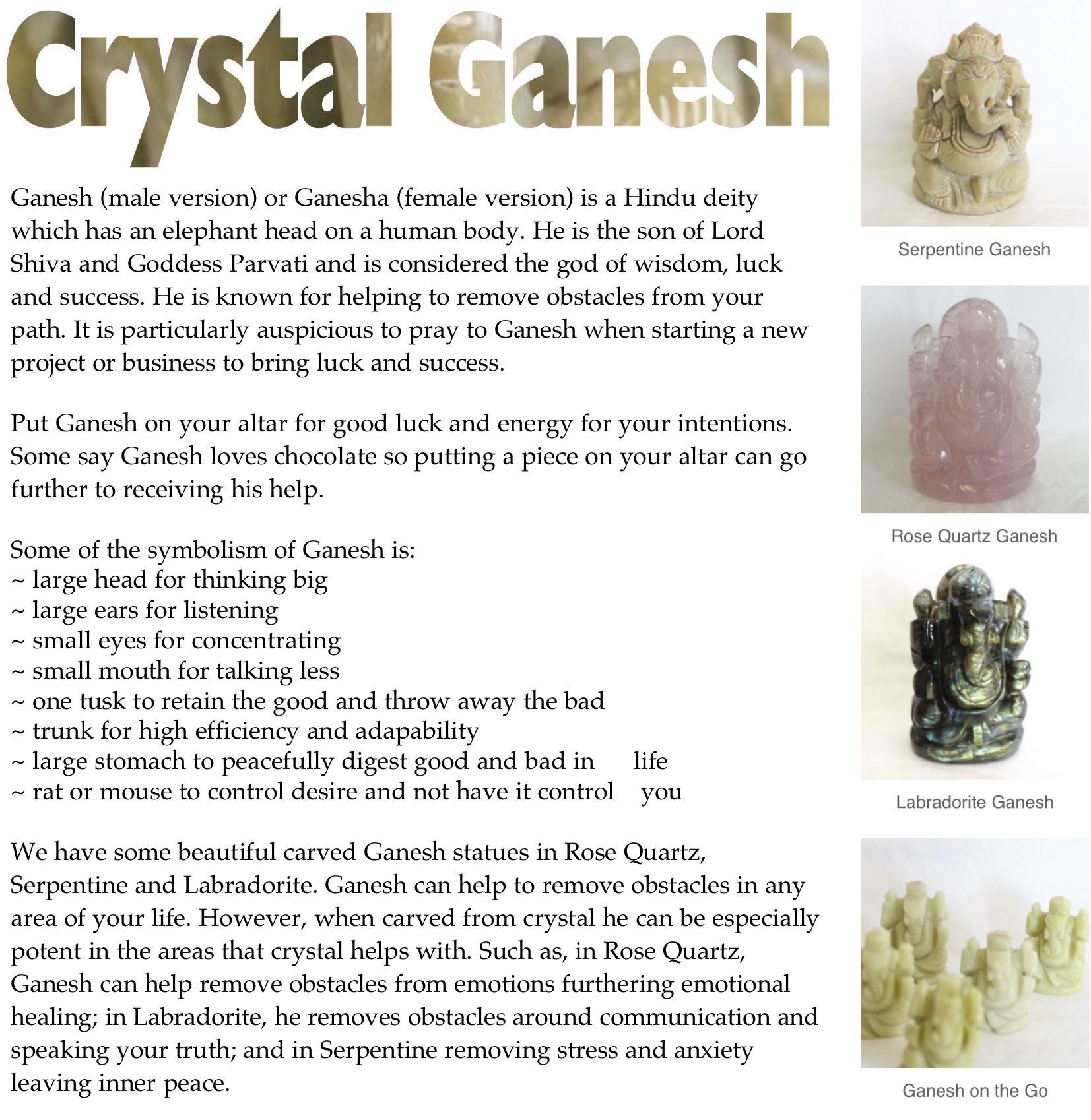 Crystal Tips - Crystal Ganesh - Soul Food Crystals & Books