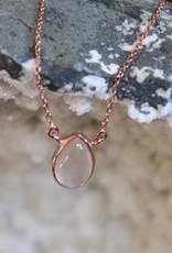 Rose Quartz Tear Drop Necklace ~ Rose Gold
