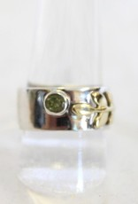 Pink Tourmaline or Peridot Ring with leaf design