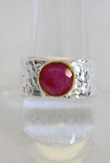 Ruby with Gold Ring ~ textured band