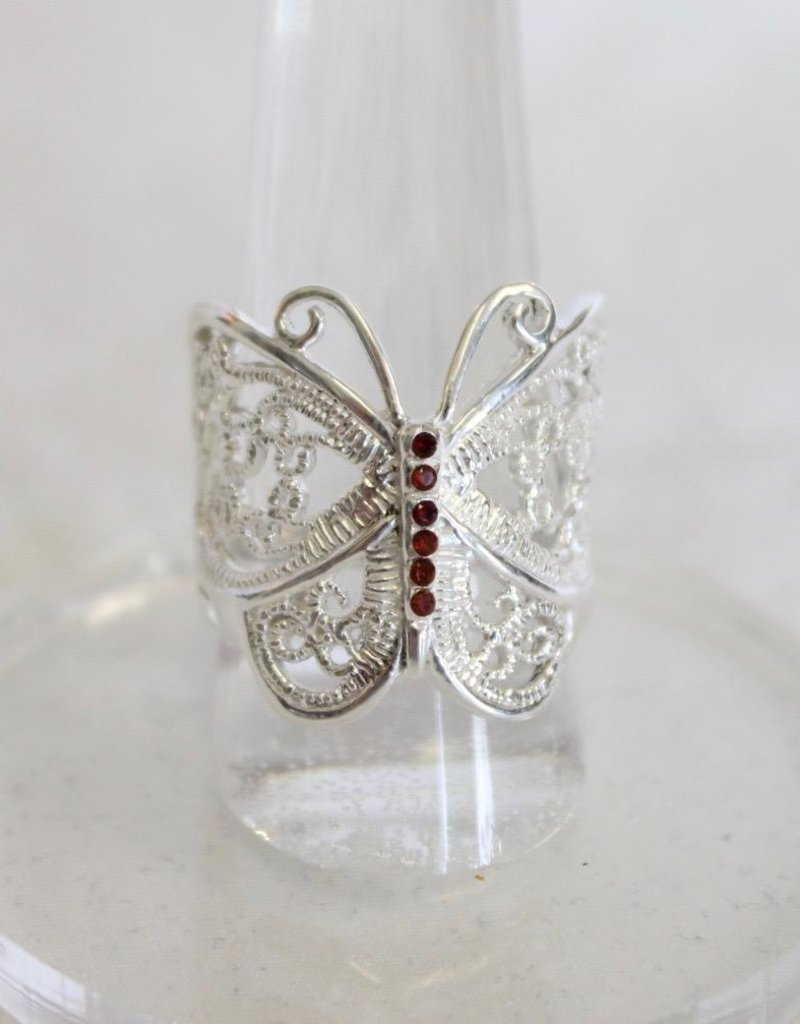 Butterfly Ring with Garnet