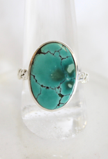 Turquoise Ring ~ Oval with textured band