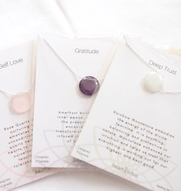 Amethyst, Aqua Chalcedony, Labradorite, Moonstone, Rose Quartz, Sapphire Faceted Necklaces