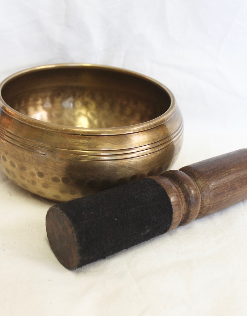 Carved Mantra Singing Bowl includes striker and cushion ~ Nepal    Chocolate    Note of G to C