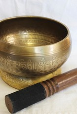 Etched and Carved Hand Pounded Singing Bowl with Lotus includes striker and cushion ~ Nepal   Note of G