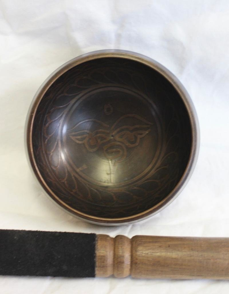 Carved Mantra Singing Bowl includes striker ~ Nepal    Note of G