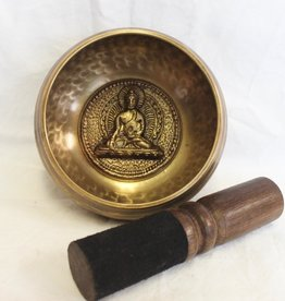 Hand Pounded Dimple Singing Bowl with Buddha inlay includes striker ~ Nepal   Note of E