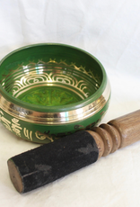 Green Singing Bowl Mantra inlay includes striker ~ Nepal   Note of F-A#