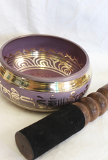 Purple Singing Bowl Mantra inlay stricker included ~ Nepal   Note of F