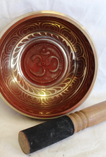 Red Singing Bowl Om inlay stricker included ~ Nepal   Note of A