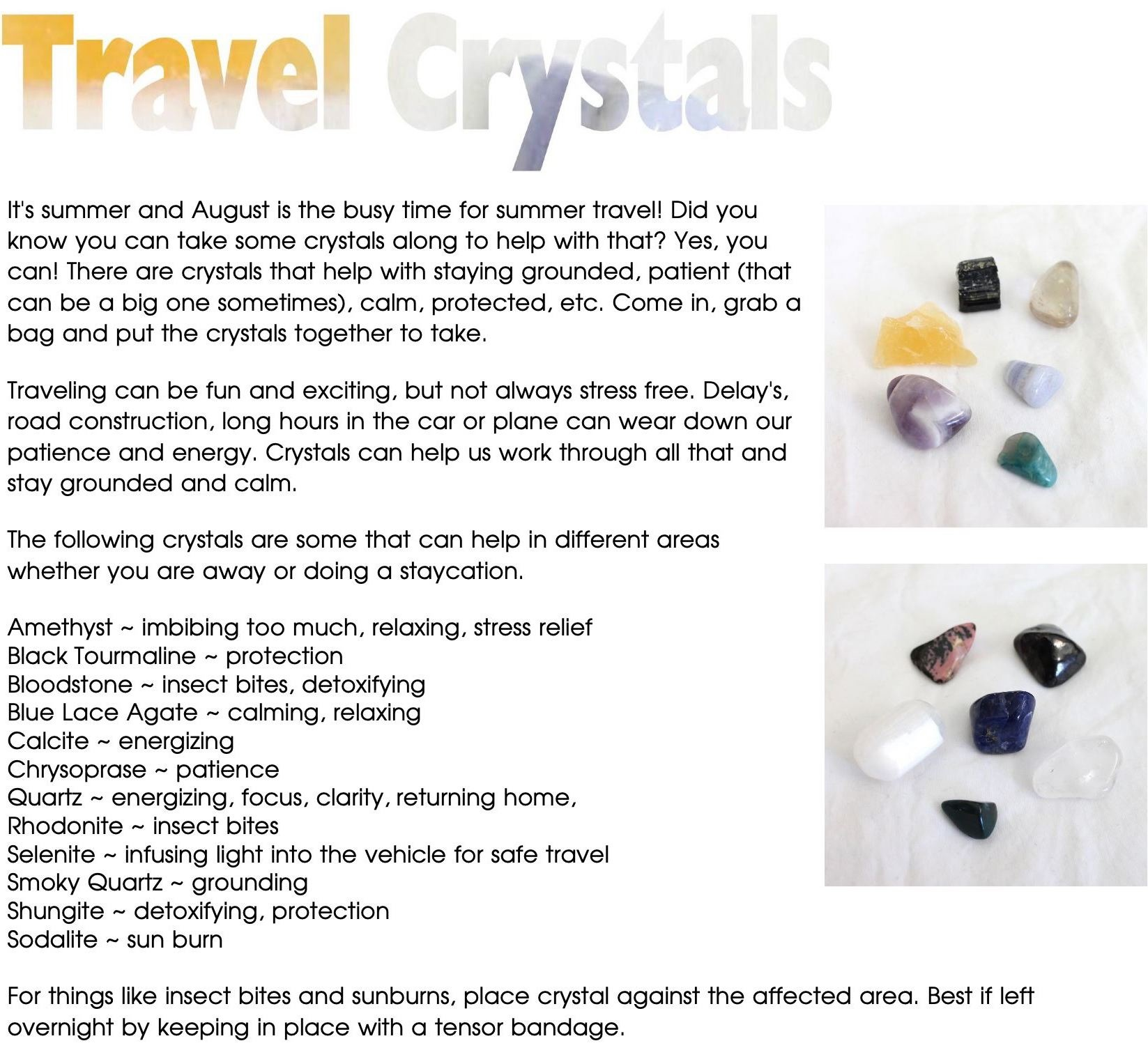 Crystal Tips - Travel Crystals - Soul Food Crystals & Books