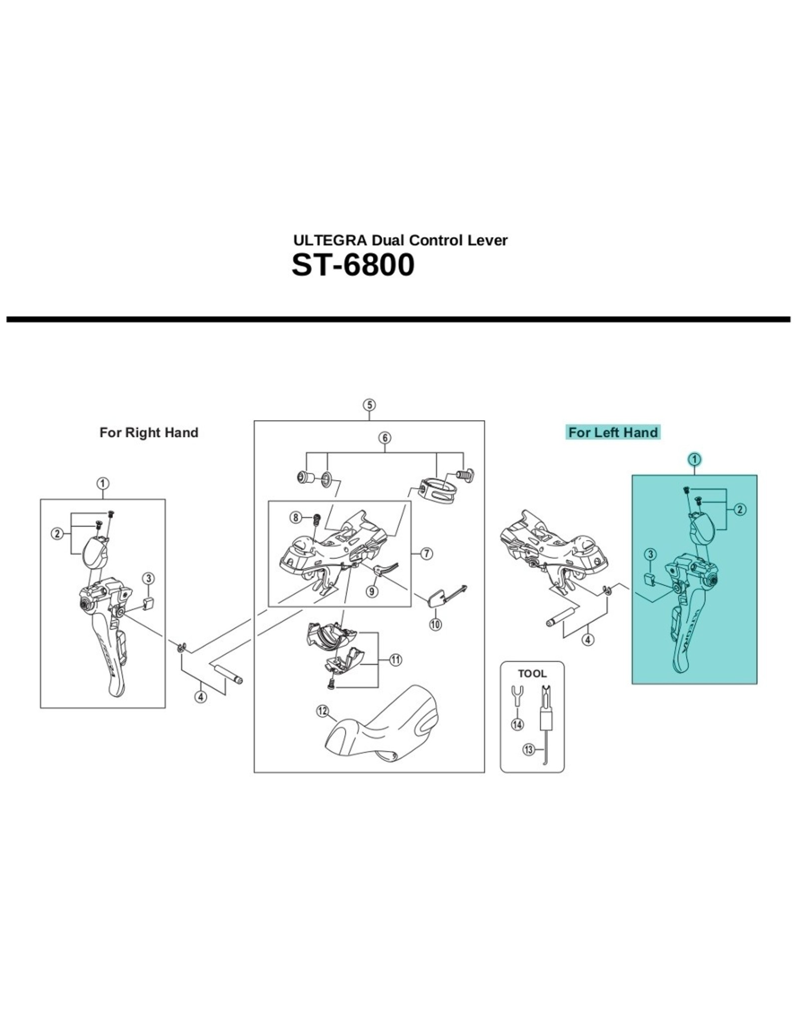 SHIMANO ST-6800 left hand main lever assembly