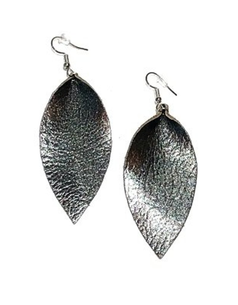 Harvest Ethiopia Leather Leaf Earrings