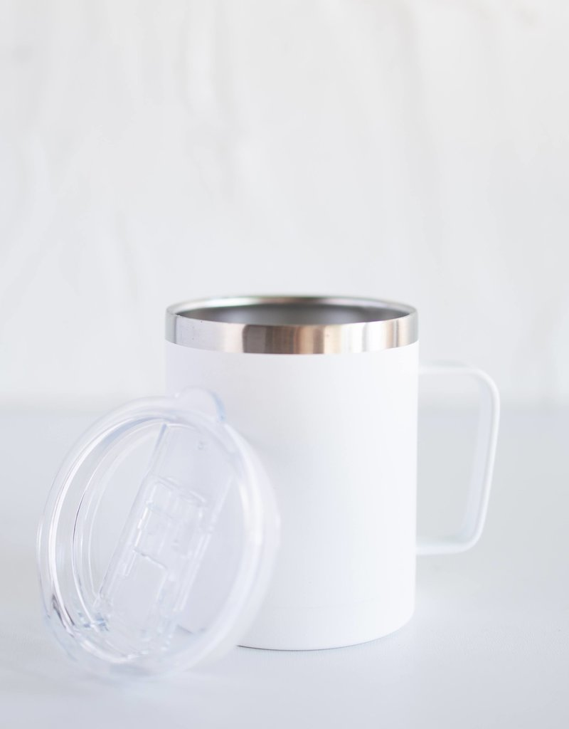 Bevi white insulated mug with lid