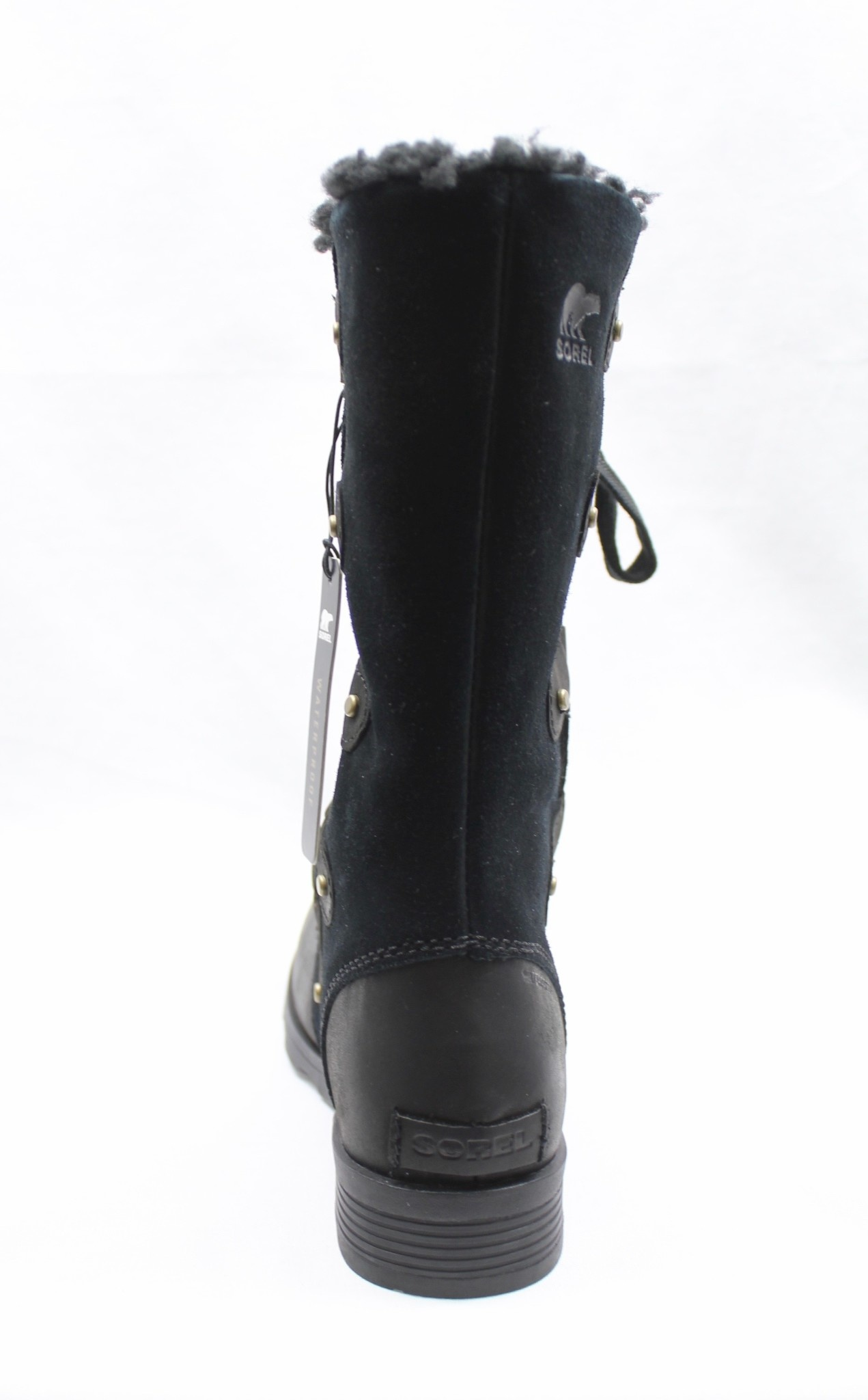 "SOREL SOREL ""EMELIE"" TALL LACE-UP BOOT W/P BLACK SUEDE & LEATHER"