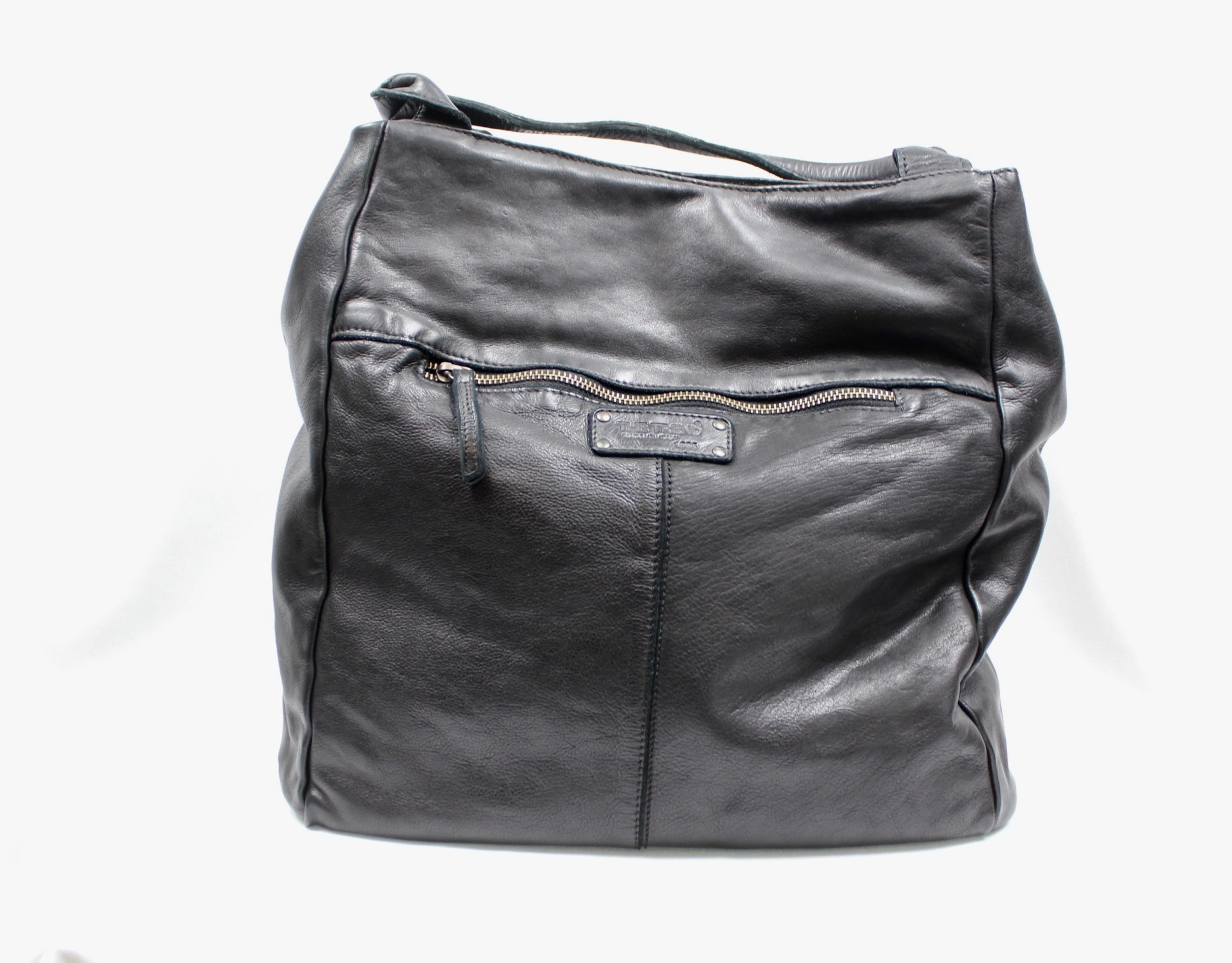 THE TREND THE TREND 22333 Black Leather Carry All Handbag