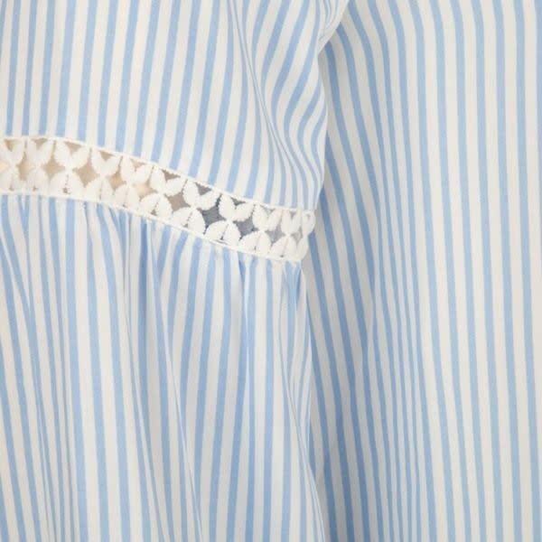 ESQUALO ESQUALO 16033 Striped Blouse with Lace Tape