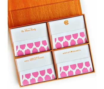 Grand Orange Silk Stationery Box