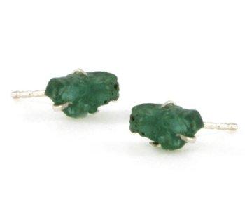 Emerald Raw Stone Earrings