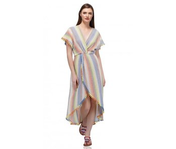 Rainbow Stripe Wrap Maxi Dress