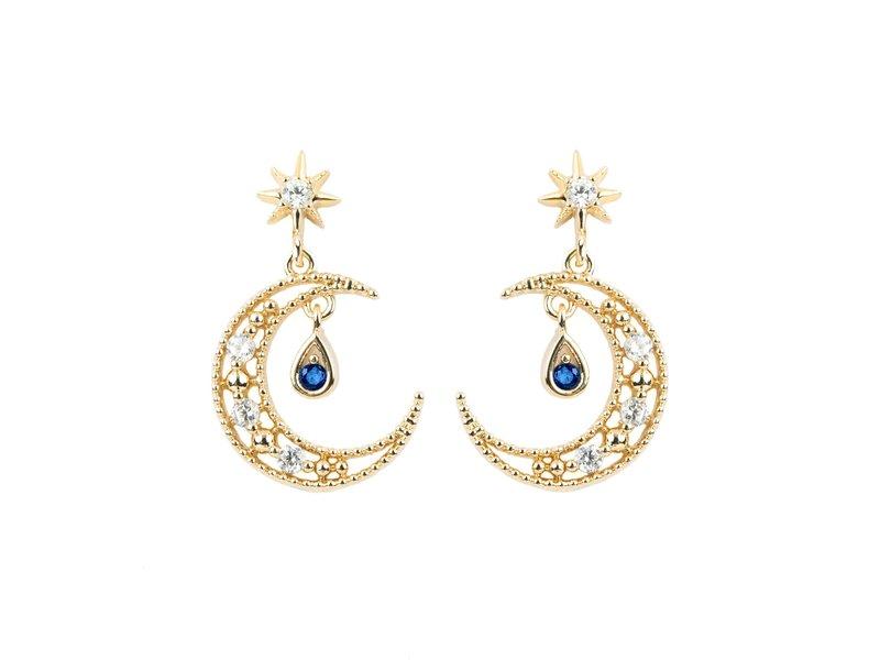 Blue Moon Earrings Gold