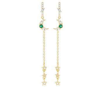 Emerald Moon & Star Dangle Earrings Gold