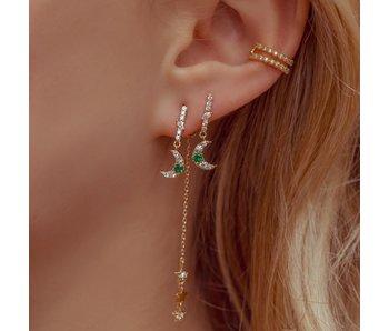 Emerald Moon & Star Dangle Earrings Gold