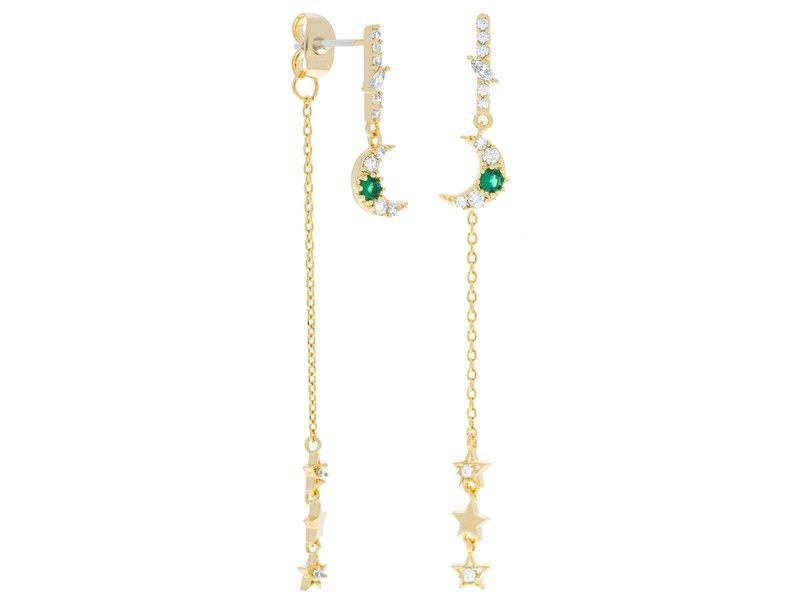 Girls Crew Emerald Moon & Star Dangle Earrings Gold