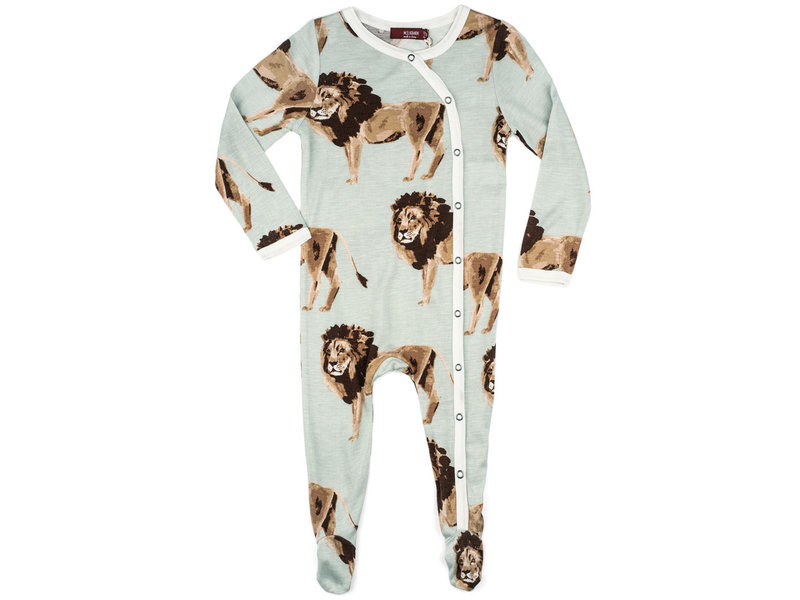 Milk Barn Bamboo Footed Romper Lion 0-3 Months
