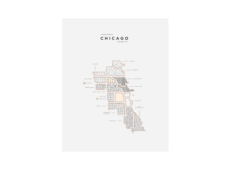 42 Pressed Chicago Map Print