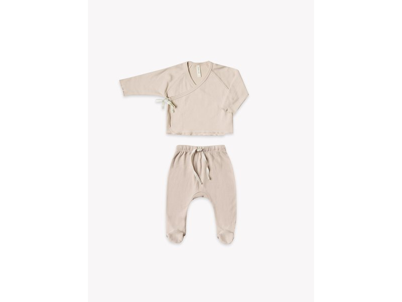 Quincy Mae Rose Top + Footed Pant Set 0-3m