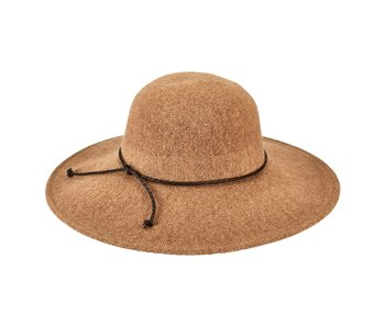 Womens Floppy Hat w Vegan Leather Knot- Camel