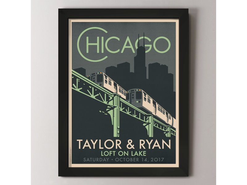"Alexander & Co. Chicago ""El"" Fountain Custom Poster"