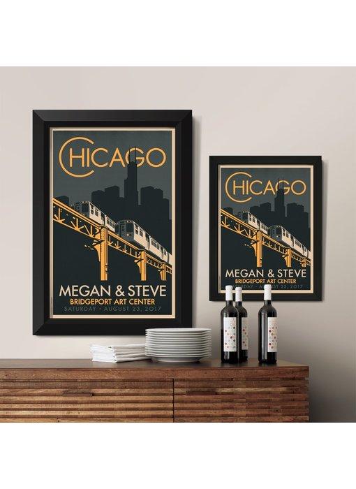"Chicago ""El"" Fountain Custom Poster"