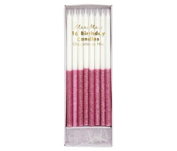 Dark Pink Glitter Dipped Birthday Candles